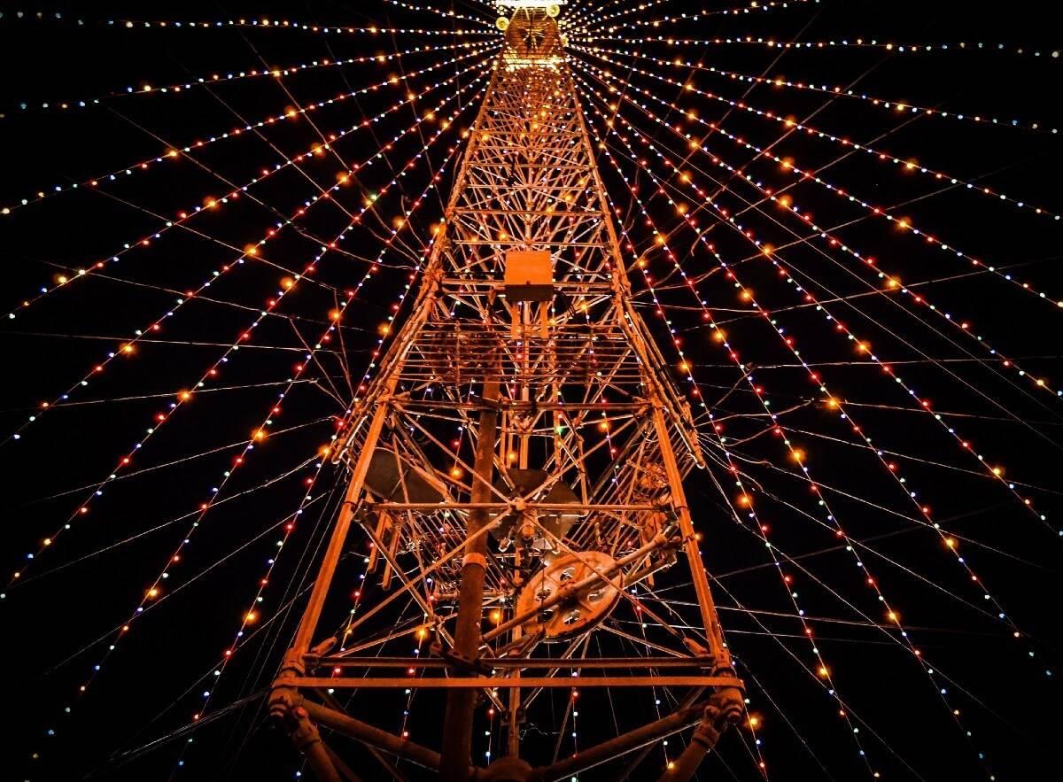 light tower on night